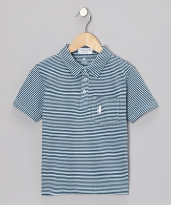 Light Blue & Pacific Stripe Polo - Toddler & Boys