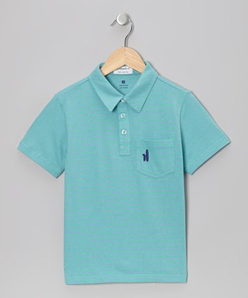 Spearmint & Vista Blue Stripe Polo - Boys