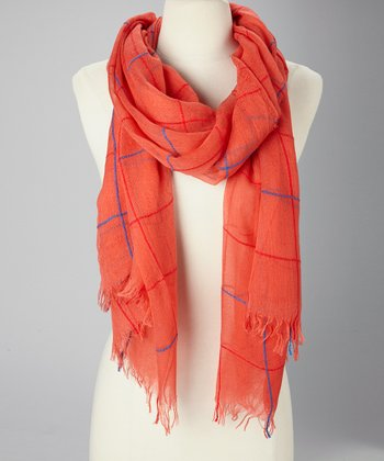 Coral Plaid Scarf