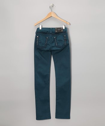 Dark Teal Two Tone Ivy Stitch Skinny Jeans