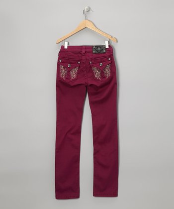 Raspberry Angel Feather Wing Skinny Jeans - Girls