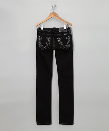 Black Sparkle Angel Dust Skinny Jeans - Girls