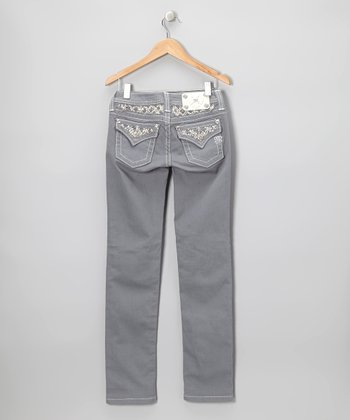 Slate Gray Embellished Flap Pocket Skinny Jeans