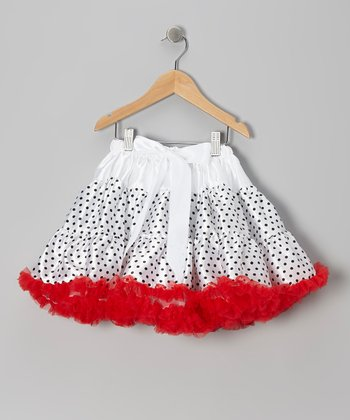 Black & Red Polka Dot Bow Pettiskirt - Infant, Toddler & Girls