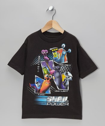 Black Turbo 'Snail Power' Tee - Kids