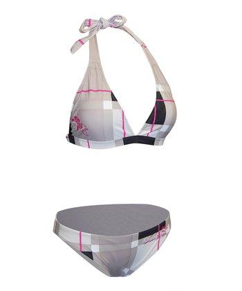 Level Six Razzberry Plaid Silica Halter Bikini - Women
