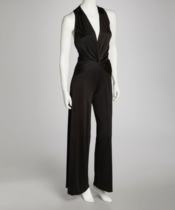 Black Ruched Jumpsuit