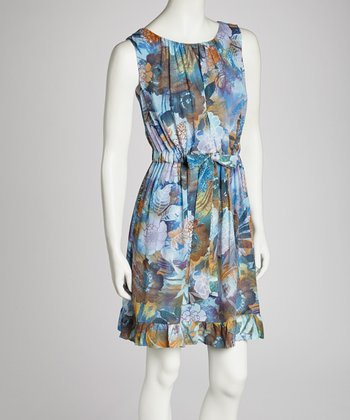 Blue Chiffon Floral Sleeveless Dress