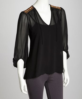 Black Sheer Indian-Trim Chiffon Top