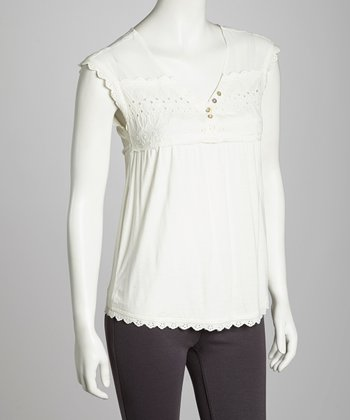 White Eyelet Trim Top