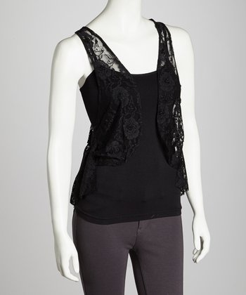 Black Lace Layered Vest