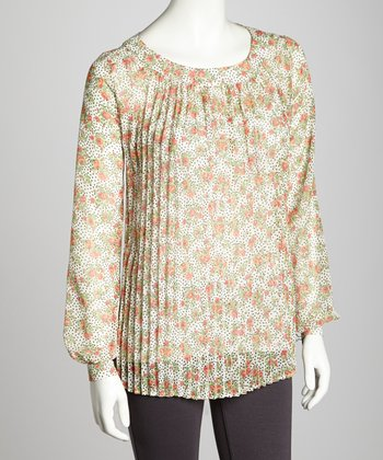Floral Pleated Chiffon Top