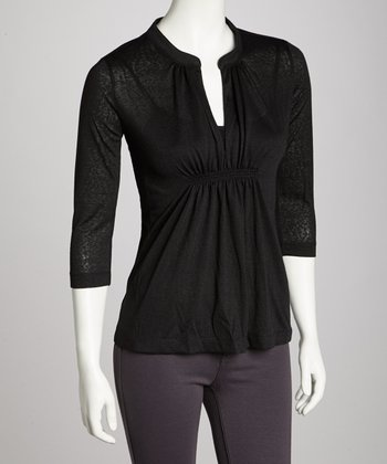 Black Pleated Three-Quarter-Sleeve Top