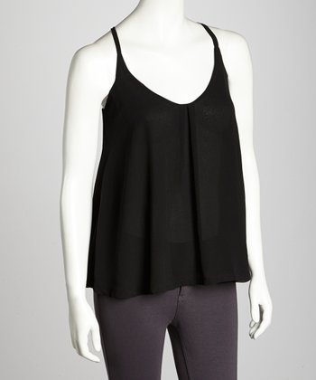 Black Chiffon Double-Layer Camisole