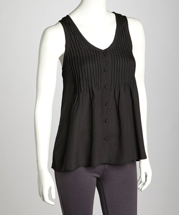 Black Pleated Button-Front Tank