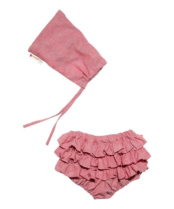Masala Baby Pink Chambray Bloomers & Pouch - Infant