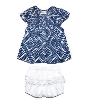 Masala Baby Indigo Country Phulkari Dress & Bloomers - Infant