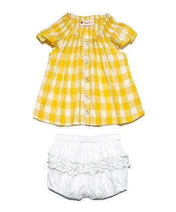 Masala Baby Yellow Plaid Country Buffalo Dress & Bloomers - Infant