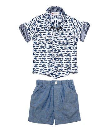 Masala Baby Indigo Player Go Fishing Button-Up & Shorts - Infant