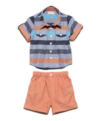 Masala Baby Orange Block Stripe Button-Up & Shorts - Infant