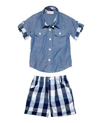 Masala Baby Navy Buffalo Plaid Player Chambray Button-Up & Shorts - Infant
