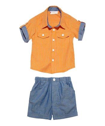 Masala Baby Terra-Cotta Player Stripe Button-Up & Shorts - Infant