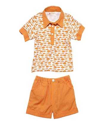 Masala Baby Terra-Cotta Groovy Go Fishing Polo & Shorts - Infant