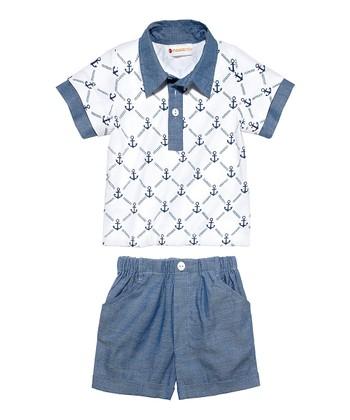 Masala Baby Indigo Groovy Anchor Polo & Shorts - Infant