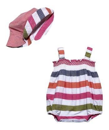 Masala Baby Pink & Green Pop Block Stripe Bodysuit & Sunhat - Infant