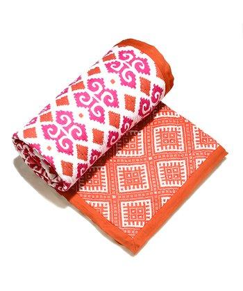 Masala Baby Pink Ikat Moksha Reversible Quilt