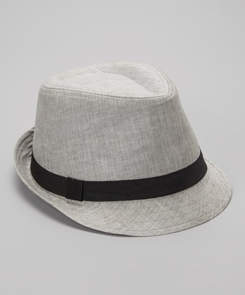 Light Gray Linen-Blend Fedora