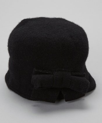 Black Boiled Wool-Blend Bow Cloche