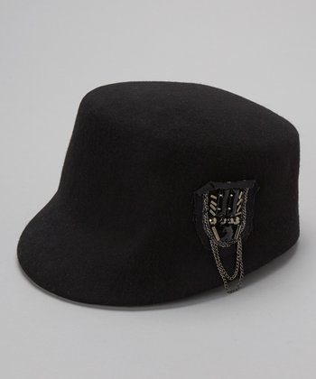 Black Wool Chain Cadet Hat