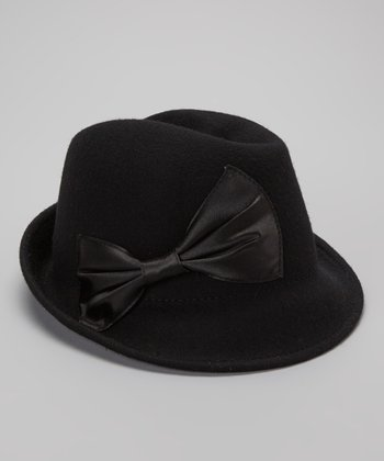 Black Wool Satin Bow Fedora