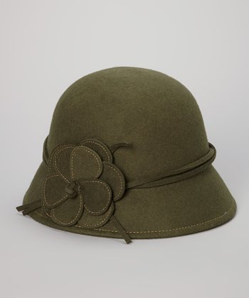 Olive Blocked Wool Flower Cloche
