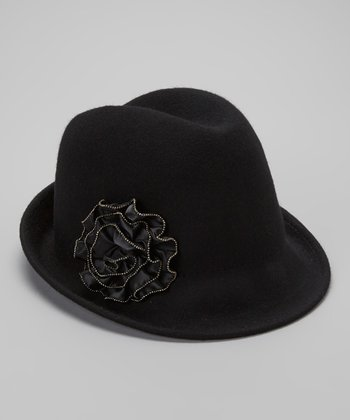 Black Wool Beaded Flower Fedora