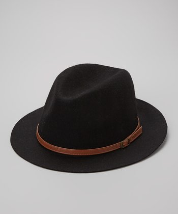 Black Wool Buckle Fedora