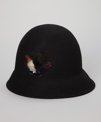 Black Wool Feather Cloche