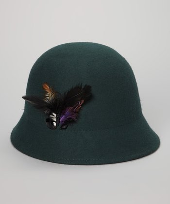 Teal Wool Feather Cloche