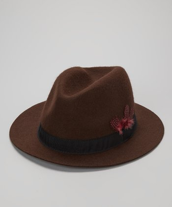 Brown Wool Loop & Feather Fedora