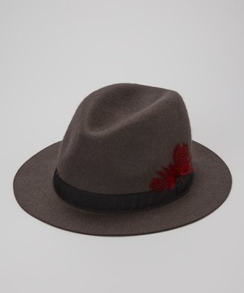 Gray Wool Loop & Feather Fedora