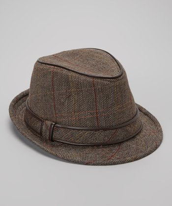 Brown Herringbone Fedora