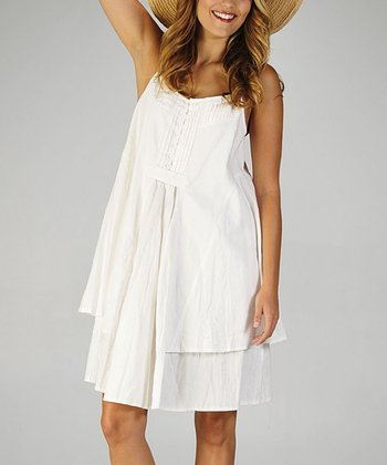 Off-White Pleated Linen Dress