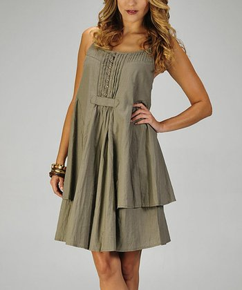 Olive Pleated Linen Dress