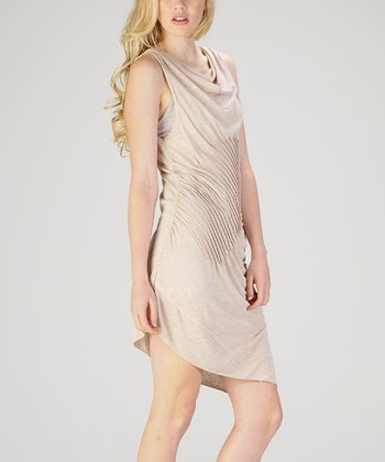 Khaki Drape-Neck Dress