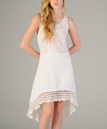 White Lace Hem Hi-Low Sleeveless Dress