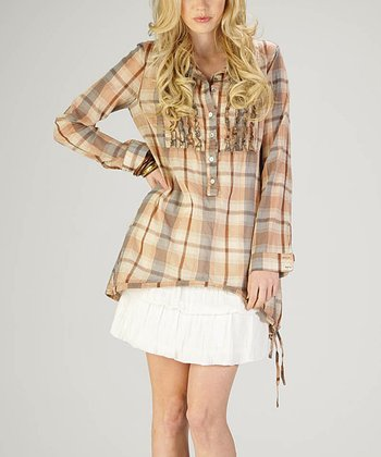 Rust Plaid Hi-Low Top