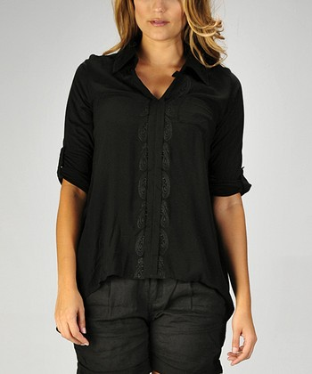 Black Embroidered V-Neck Top