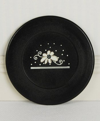 Black décorative Flower Plate