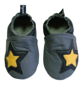 Gray & Yellow Star Booties